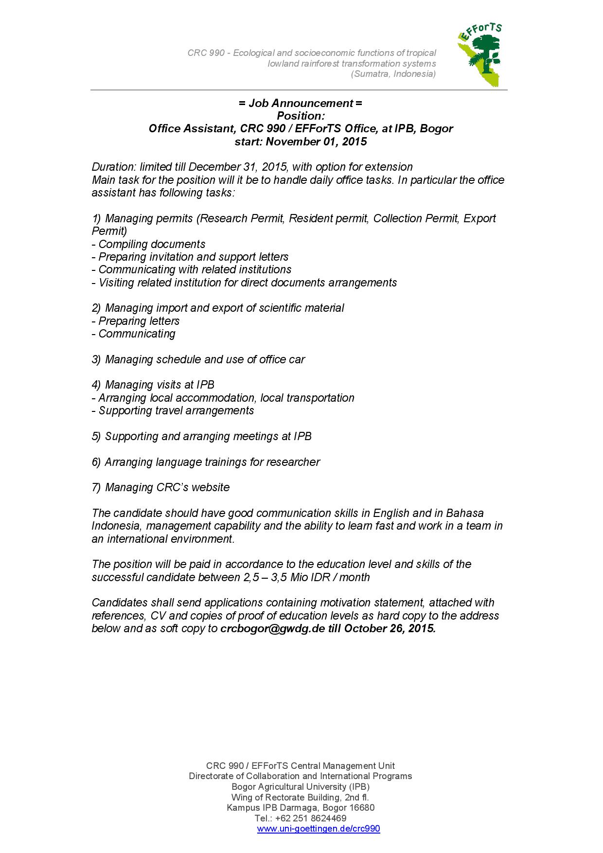 Job announcement, office assistant, IPB office New-page-001